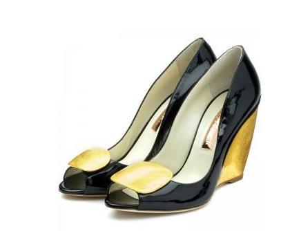 peep toes negro y dorado zapato mujer